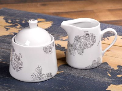Fish - Creamer Jug and Covered Sugar Set