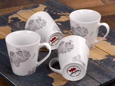 Fish - 12oz Porcelain Mug, Set of 4